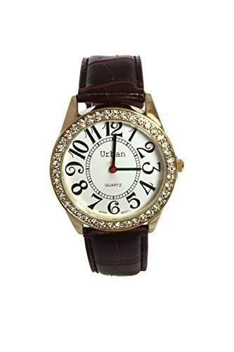 Damen Armbanduhren PU Leder mit Braunem Armband, Vergoldet und mit Strasssteinen Quarz Analog Neu