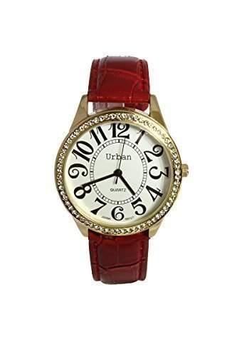 Damen Armbanduhr PU Leder rotes Uhrenarmband vergoldet Strass Ziffernblatt Analog mit 1Extra Batterie