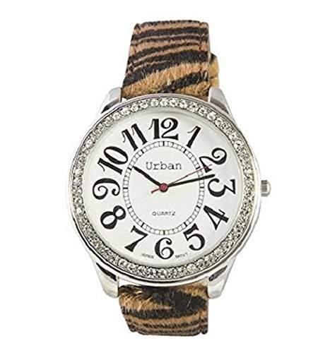 Neue Uhren Frauen s Tieger Druck PU Leder grosse Zifferblatt Diamante Gesicht Quarz analog zusaetzlichen Akku