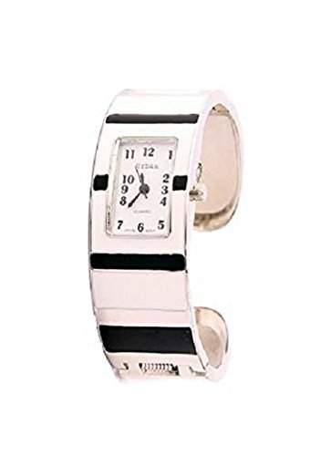 Urban - Damen Weisse Emaille Armreif Armband Uhr Mit Schwarzen Streifen Auf Dem Armband Mit Extra Batterie