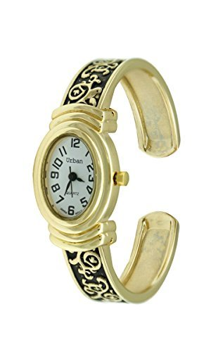 Urban Gold vergoldet Damen Armband Armreif Uhr Antik Vintage Stil mit ovale Form Gesicht