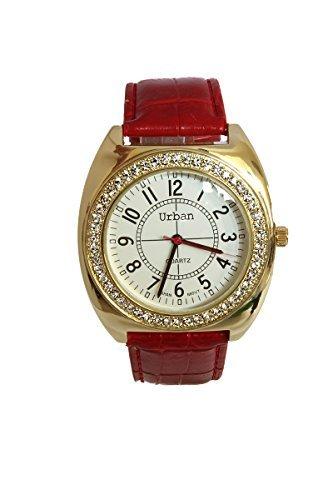 Frauen s vergoldet grosse Zifferblatt Diamante Gesicht analoge rot PU Leder Armband Extra Uhrenbatterie