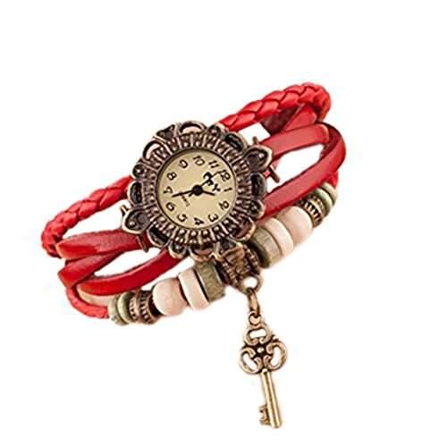 Demarkt Uhr Leder Armbanduhr Armreif Damenuhr Lady Quarz Bracelet Beads rot