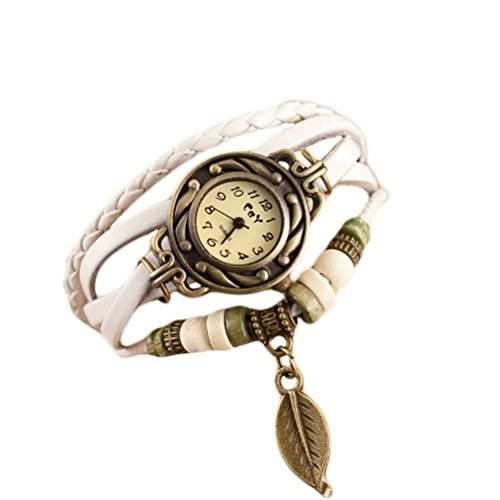 Demarkt Vintage Retro Damenuhr Leder Design Armbanduhr Damenarmbanduhr Spangenuhr Quarzuhren Weiss