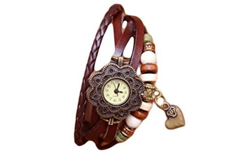 Demarkt Retro Mode Wickel Leder Armband-Uhr Damen Frau Quarzuhr Armbanduhr in Khaki