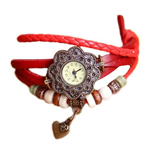Demarkt Retro Mode Wickel Leder Armband-Uhr Damen Frau Quarzuhr Armbanduhr in Rot
