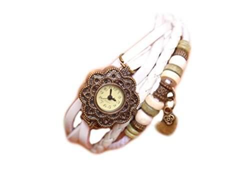 Demarkt Retro Mode Wickel Leder Armband-Uhr Damen Frau Quarzuhr Armbanduhr in Weiss