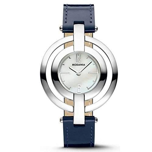 Rodania Chacha Damen 35mm Blau Leder Armband Edelstahl Gehäuse Uhr 24941-29