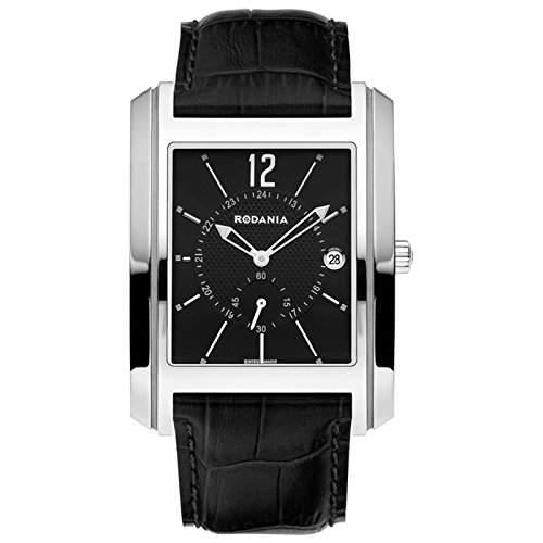 Rodania Herren Schwarz Leder Armband Edelstahl Gehäuse Mineral Glas Uhr 25018-26