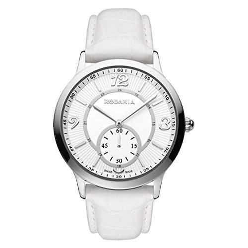 Rodania Damen 38mm Weiß Leder Armband Edelstahl Gehäuse Uhr 25027-28