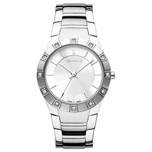 Rodania Damen 29mm Silber Ëdelstahl Armband & Gehäuse Mineral Glas Uhr 25034-48