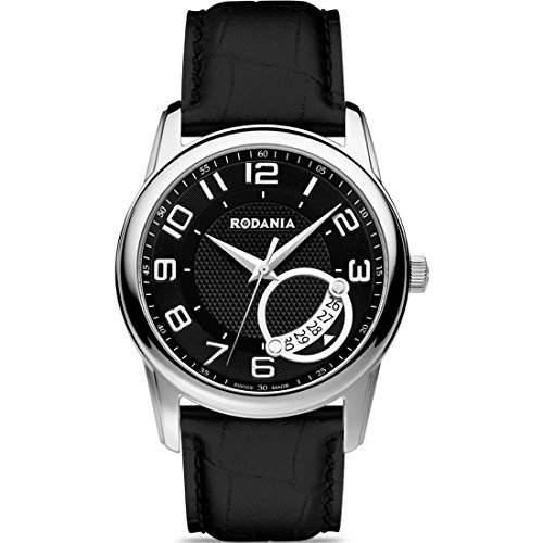 Rodania Celso Swiss Made Herren 40mm Schwarz Leder Armband Datum Uhr 25038-27