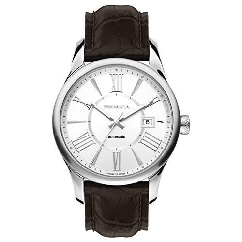 Rodania Herren 42mm Automatikwerk Schwarz Leder Armband Datum Uhr 25040-21