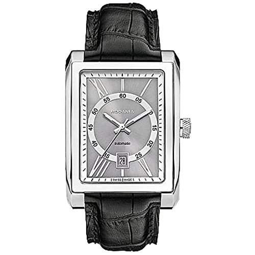 Rodania Herren Automatikwerk Schwarz Leder Armband Mineral Glas Uhr 25041-28
