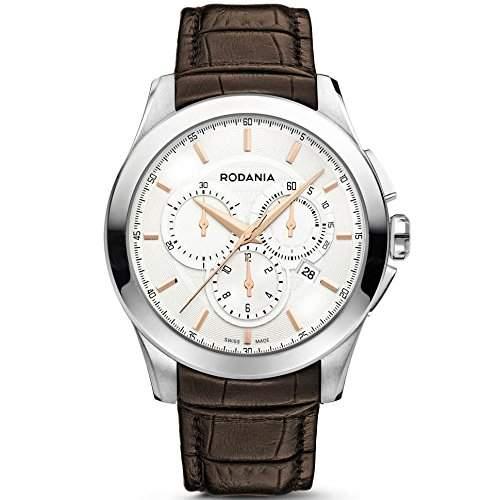 Rodania Nolan Herren 435mm Chronograph Braun Leder Armband Datum Uhr 25071-23