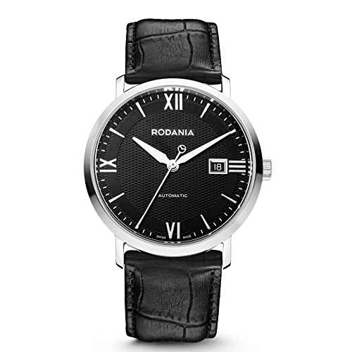 Rodania Cirius Herren 41mm Automatikwerk Schwarz Leder Armband Uhr 25081-26