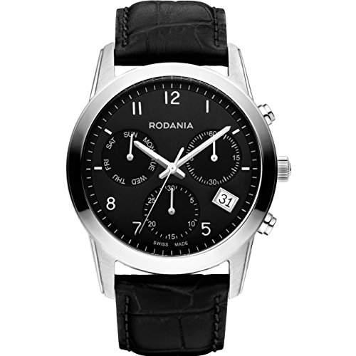 Rodania Celso Herren 40mm Chronograph Schwarz Leder Armband Datum Uhr 25103-26