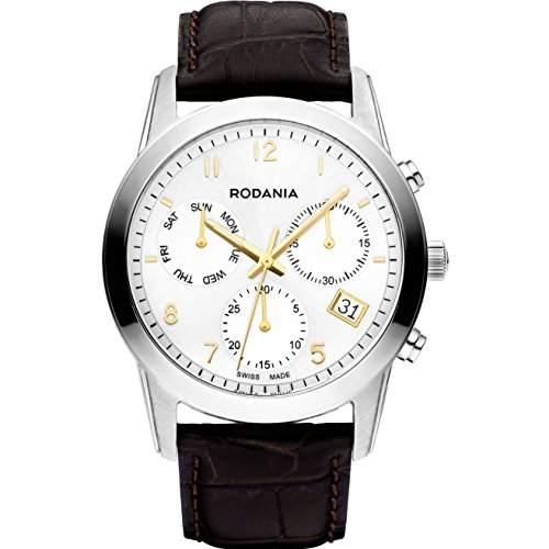 Rodania Celso Herren 40mm Chronograph Braun Leder Armband Datum Uhr 25103-71