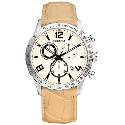 Rodania Herren 42mm Chronograph Braun Leder Armband Mineral Glas Uhr 26086-21