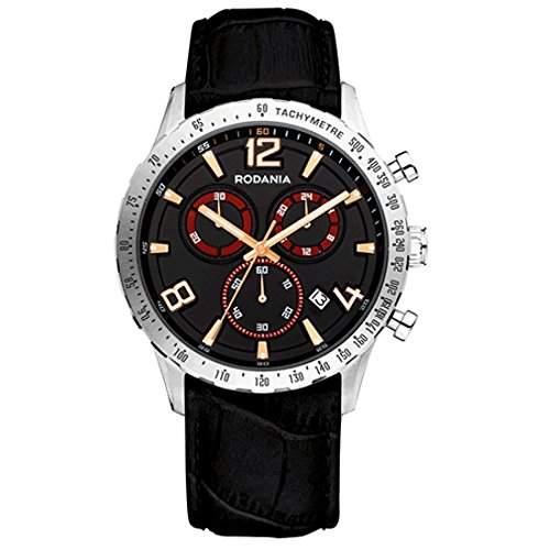 Rodania Herren 42mm Chronograph Schwarz Leder Armband Mineral Glas Uhr 26086-25