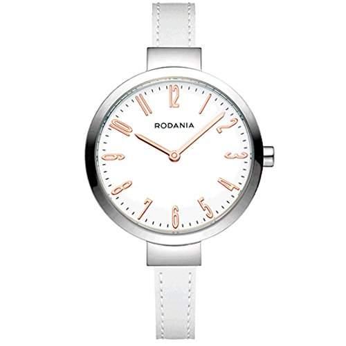 Rodania Damen 33mm Weiß Leder Armband Edelstahl Gehäuse Uhr 26088-23