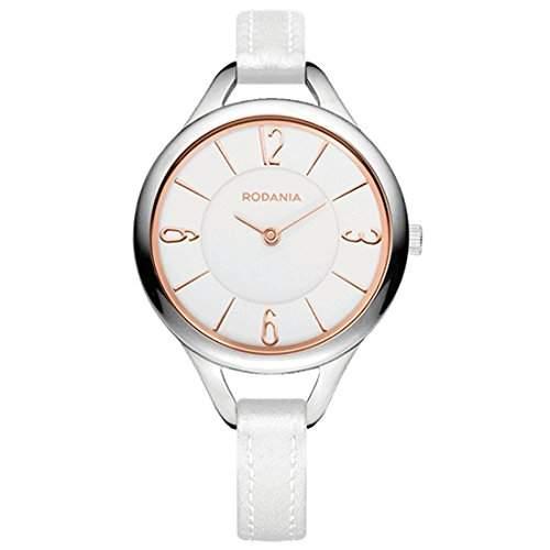 Rodania Damen 32mm Weiß Leder Armband Edelstahl Gehäuse Uhr 26089-23