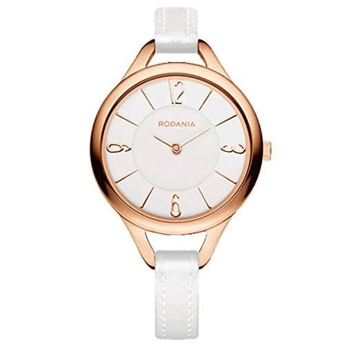 Rodania Damen 32mm Weiß Leder Armband Edelstahl Gehäuse Uhr 26089-33