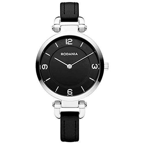 Rodania Damen 31mm Schwarz Leder Armband Edelstahl Gehäuse Uhr 26090-26