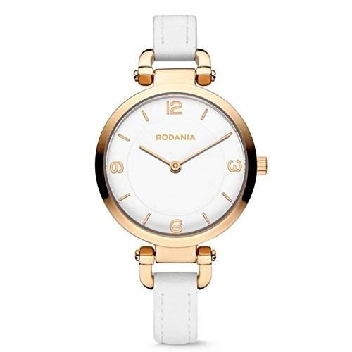 Rodania Amazone Damen 31mm Weiß Leder Armband Mineral Glas Uhr 26090-33