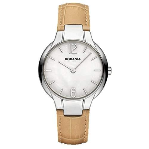 Rodania Amber Damen 30mm Beige Leder Armband Edelstahl Gehäuse Uhr 26095-22