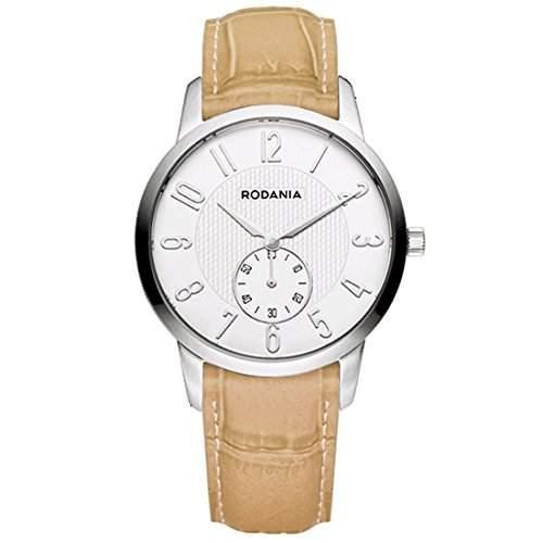 Rodania Damen 32mm Beige Leder Armband Edelstahl Gehaeuse Uhr 26096-22