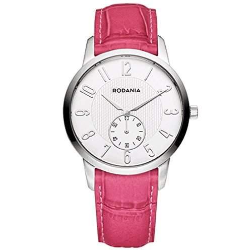 Rodania Damen 32mm Rosa Leder Armband Edelstahl Gehaeuse Uhr 26096-24