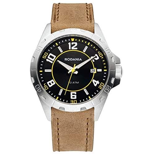 Rodania Herren 40mm Braun Leder Armband Edelstahl Gehäuse Datum Uhr 26113-24