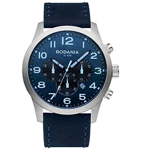 Rodania Herren 46mm Chronograph Blau Leder Armband Mineral Glas Uhr 26116-29