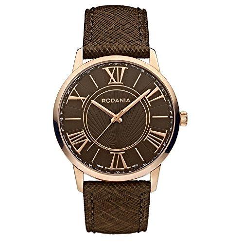 Rodania Maura Damen 38mm Braun Leder Armband Edelstahl Gehaeuse Uhr 25066 35