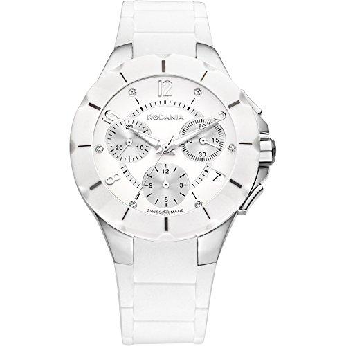 Rodania Damen 36mm Chronograph Weiss Kautschuk Armband Uhr 24900 20