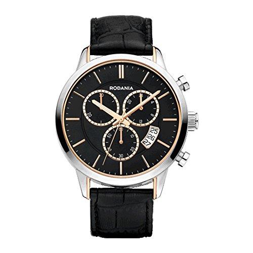 Rodania Oxford Herren 42mm Chronograph Schwarz Leder Armband Datum Uhr 26108 27