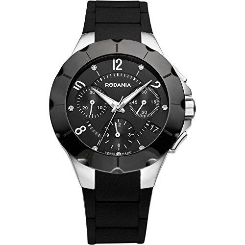 Rodania Herren 36mm Chronograph Schwarz Kautschuk Armband Uhr 24900 26