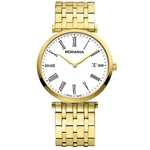 Rodania Elios Damen 38mm Gold Armband Edelstahl Gehaeuse Saphirglas Uhr 25056 62