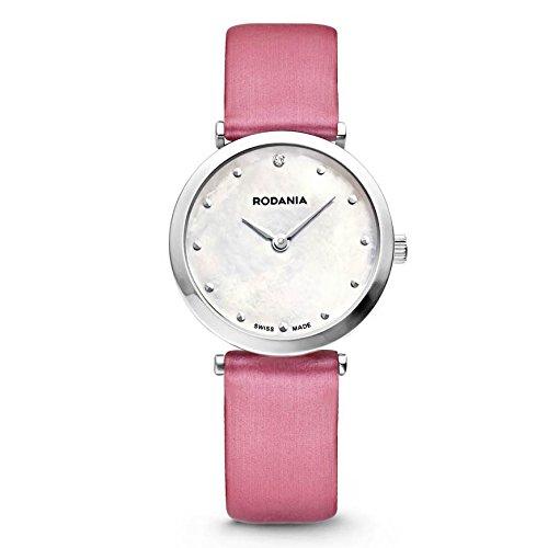 Rodania Elios Silk Damen 28mm Rosa Leder Armband Uhr 25057 22