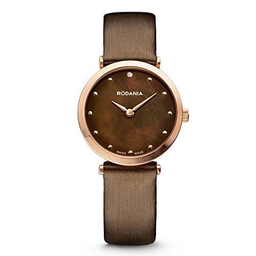 Rodania Elios Silk Damen 28mm Braun Leder Armband Uhr 25057 35