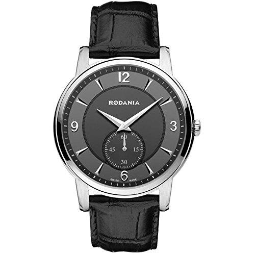 Rodania Swiss Made Herren Armbanduhr 40mm Armband Leder Schwarz Gehaeuse Edelstahl Batterie Analog 25024 28