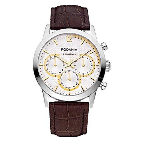 RODANIA Energy Turbo Herren Armbanduhr Armband Leder Braun Gehaeuse Edelstahl Batterie Analog 26166 7