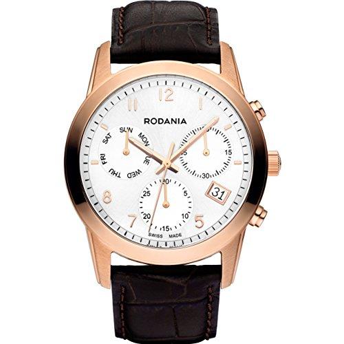 Rodania Celso Herren 40mm Chronograph Braun Leder Armband Datum Uhr 25103 33