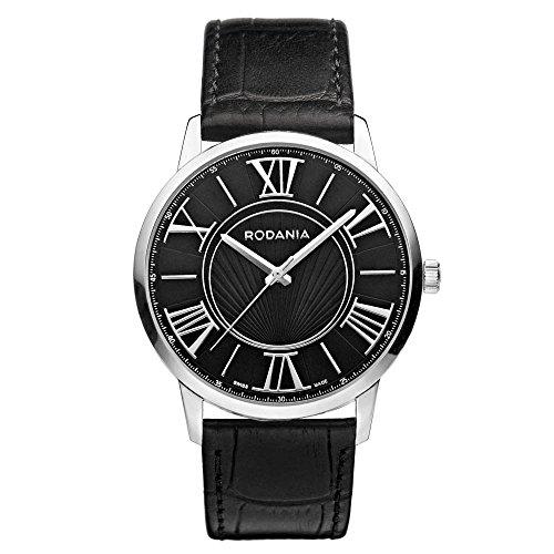 Rodania Maura Herren 38mm Schwarz Leder Armband Edelstahl Gehaeuse Uhr 25066 26