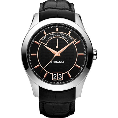 Rodania Nolan Herren 43 5mm Schwarz Leder Armband Edelstahl Gehaeuse Uhr 25070 27