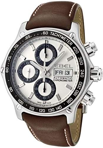Ebel 1911 Discovery Chronograph 1215797 Steel Mens Strap Watch DOW Calendar 9750L6263B35P11