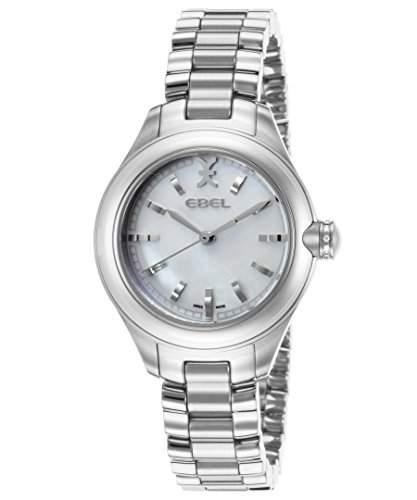 Ebel Onde Damen-Armbanduhr 30mm Armband Edelstahl + Gehaeuse Schweizer Quarz Zifferblatt Weiss 1216173