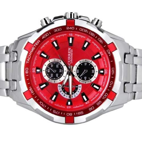 Curren 8023 wasserdichte Armbanduhr Mens, rund, Edelstahl, Armbanduhr, rot &Silver