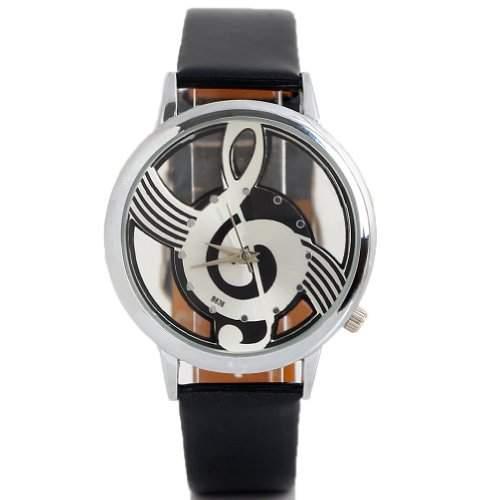 SA modische coole Maedchen und Jungen musikalisches Bilder Uhr stylishQuartz Uhr schwarz
